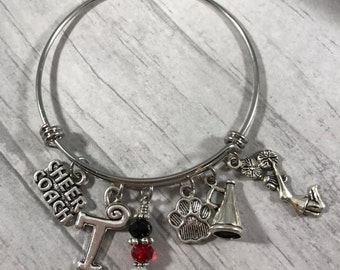 Cheer Coach Bangle Bracelet, Cheer Mom Bling, Cheerleader Bracelet, Cheer Mom Jewelry, Cheer Coach Gift, Spirit Jewelry, Mascot Charm Bracel