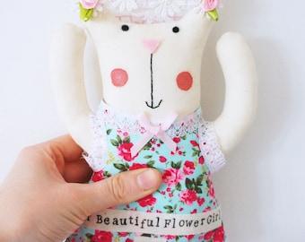Flower girl wedding doll/ personalised bridesmaid gift.