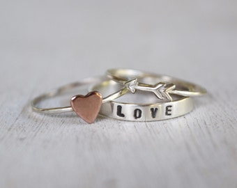 Love or Customized Text Ring - Sterling Silver Text Ring and Copper Heart Ring - Tiny Silver Arrow Ring - Heart Ring Set