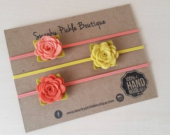 Felt Rose Headbands,Baby Headband,Newborn,Infant,Toddler,Girls,Coral,Salmon,Mustard,Set of 3 Felt Flower Headbands,Gift Set, Baby Shower
