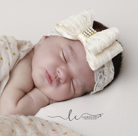 Lace Bow Headbands or Clips, 10 COLORS, stretch 2.5 inch lace, newborn photos, birthday, photo shoot, by Lil Miss Sweet Pea