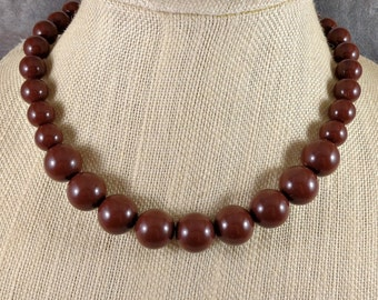 Statement Necklace, Brown, Chunky Necklace, Gumball Necklace, Brown Bead Necklace, Big Bead Necklace, Round Bead Necklace, Acrylic