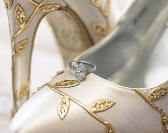 CUSTOM CONSULTATION:  Wedding Shoes, Bridal Heels, Ivory Wedding Shoes, Gold Leaf Wedding Shoes, Metallic Gold Leaf Shoes, Closed Toe Shoes