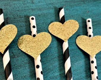 Gold Heart Straws, Baby Shower Straws, Glitter, Black and Gold, Neutral Baby Shower Decorations, assembled straws, 12 ct, SET OF 12