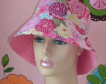 Chemo Hat Sun Hat Handmade in the USA  Hat Alopecia Hat Pink  ( For Size Guide, see 'Item Details' below photos)MEDIUM