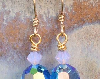 Swarovski Capri Blue & Violet Opal Crystal Earrings