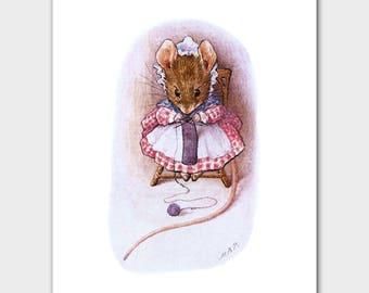 "Girls Room Decor (Beatrix Potter Print, Baby Nursery Wall Art) ""Knitting"" -- Peter Rabbit's Friends"