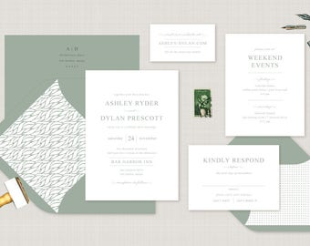 Traditional Wedding Invitation. Custom Letterpress Wedding Stationery. Modern Wedding Invite for Contemporary Weddings in Olive Green