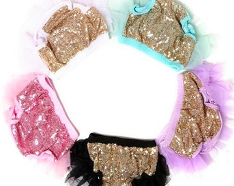 Baby Tutu Bloomers With Sequins - Sequin Tutu, Fancy Diaper Cover, Fancy Tutu, Gold Diaper Covers, Baby Tutu