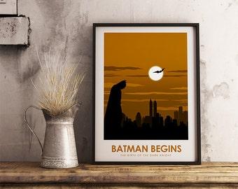 Batman Begins Poster Print - The Dark Knight - Travel Poster Style Art Print - Batman Poster
