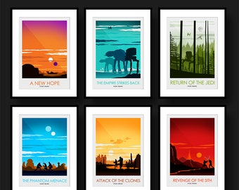 Poster Art Print Set of six Star Wars Movie Posters - Poster Art Print - Wall Art - Poster Print