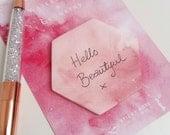 Pretty Watercolour Sticky Notes - Hexagon