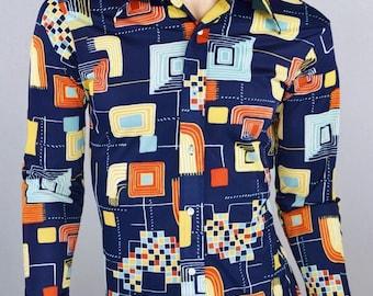 Vintage 1970's Maxino Atomic Art Pattern DiScO HiPPiE HiPsTeR Shirt S M 40