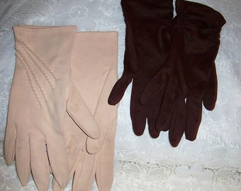Vintage Ladies Brown & Tan Wrist Gloves by Hansen Size 7 Both Pairs for 5 USD