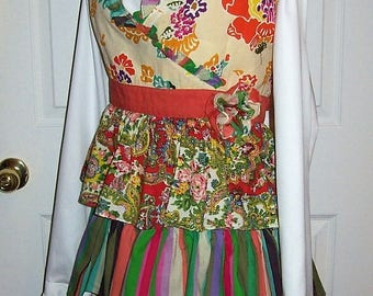 Vintage 1960s 70s Multi Color Ruffled Apron One Size Only 7 USD