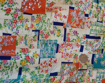 "Vintage Japanese silk crepe kimono fabric 92 cm x 36 cm (36"" x 14"")  Patchwork flowers"