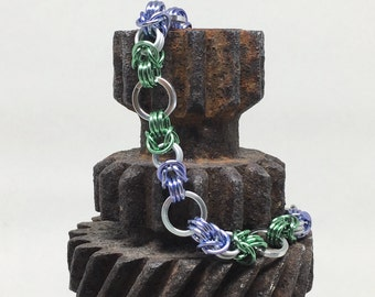 Genderqueer Pride Byzantine Bracelet - Ready to Ship