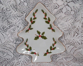 Vintage Lefton Christmas Tree Candy Dish Holly 1985 MINT