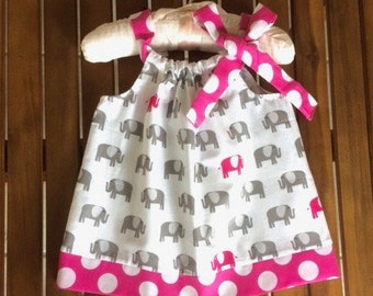 Baby girl dress in pink and grey adorable elephant print.