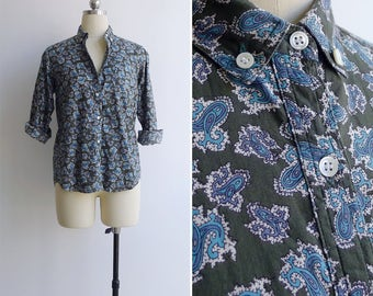 15% SALE (Code In Shop) - Vintage 70's Green Paisley Print Cotton Shirt S or M