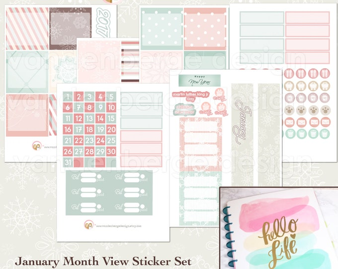 BIG Happy Planner January Month View Kit - sized to fit the MAMBI Big Happy Planner