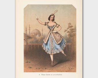 "Ballerina Artwork, Vintage Ballet Print (Cottage Chic Wall Decor, 1940s Lithograph) --- ""La Lituana"""
