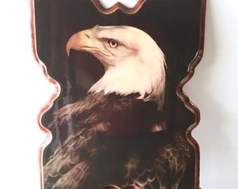 Vintage Bald Eagle Wall Hanging/Plaque, Lacquered on Wood