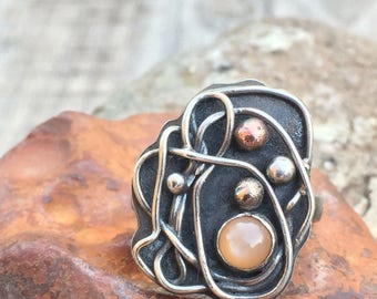 Peach Moonstone Ring Size 8 - Unique Sterling Silver w/ Mixed Metals Accents - Organic / Abstract Artisan Metalwork Jewelry