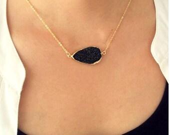 Black Druzy Gold Necklace Layered Long Onyx Black Gray Geode Quartz Crystal Stone Drusy Gemstone Raw Rustic Modern Statement Natural C1