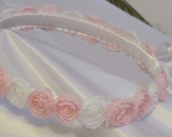 FREE SHIPPING!, Flower Girl wreath Headpiece, Flower Girl Hair Decoration, Flower Girl Halo Headpiece, Pink and White Headband.