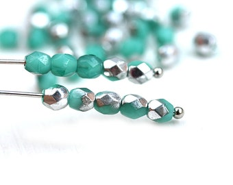 4mm Turquoise Green Fire polished czech glass beads - Turquoise Silver coating faceted round spacers - 50Pc - 1630