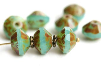 7x11mm Rivoli beads, Opal Jade Green Saucer czech glass beads, Picasso finish, faceted, fire polished - 4Pc - 1866