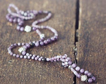 Hand Knotted Necklace - Jade Jewelry - Long Knotted Bead Necklace - Purple Gemstone Necklace - Opera Length Necklace - Jade Necklace