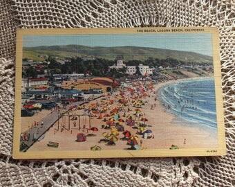 A vintage postcard of Laguna Beach California,C.T.  Art-Colortone Postcard,R.M. Marriner