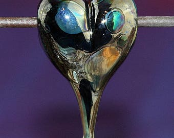 Love Reflections Handmade Lampworked Glass Bead OOAK Black Teal Green Blue Silver Heart Focal Slider Lampwork