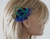 "Peacock Feather Green Royal Blue Fascinator Hair Clip Bridal ""Noa"" - 1 Day to Make - Bridesmaids Bride Flapper Gatsby Party Woodland Wedding"