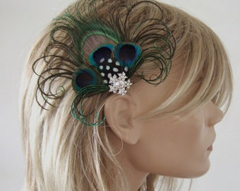 "Peacock Feather Green Royal Blue Fascinator Hair Clip Bridal ""Jay"" - 1 Day to Make - Bridesmaids Bride Flapper Gatsby Party Woodland Wedding"