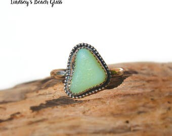 Hawaiian Jadeite Green Milk Glass Beach Glass Set in 925 Sterling Silver Handcrafted Ring - Size 8.75