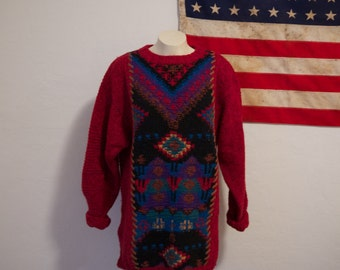 Aztec // Navajo // burgundy pullover // leather like trim // rare aztec print // knit Aztec sweater // Woolrich // Size L