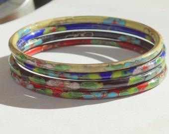 STACK of CLOISONNE BANGLES - Vintage enamelled bangles - stack of 4 vintge enamelled bangles -  different colors - vintage enamel bangle