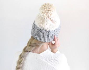 Womens Knit Beanie Hat Pom Gray White / Womens Fall Fashion Autumn Winter Style Warm Toque Tam / Gray & Cream Fashion Chunky Wool Beanie Hat