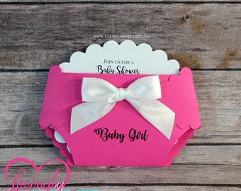 Hot Pink, Black & White Baby Shower Diaper Shaped Invitations | Set of 10 | Modern Girly | Fashionista