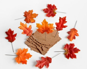 Autumn Leaves Push Pins. Rustic Home Office Cork Board Decor. Perfect Gift Idea for Teachers, Coworkers, Anyone Who Loves Fall! Set of 10