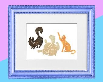 """Original Handmade Lino Cut Art Print - Signed & Mounted - 12x10"""" - Trio of Cats - Colour"""