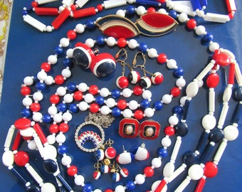 Mod Costume Jewelry Lot Red White Blue Political 1960s Party Nautical Earrings Necklaces Beads Plastic Lucite Vote Voting Election