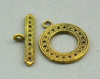 Round Toggle Clasp Antique Gold 2 sets 24mm BS01022GC