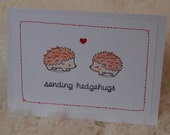 Hedgehog Birthday Card, Hedgehog Anniversary Card, Optional Blank Card or Valentine, Choose your own message, Sending Hedgehugs