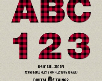 Printable Digital Alphabet Letters Numbers Clip Art Clipart Buffalo Plaid Letters Printable Party Decor Decorations DT1896