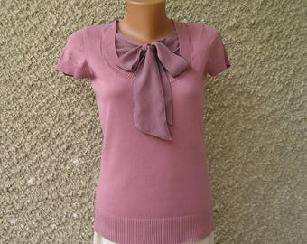 Vintage 90s knit bow top, size S-M
