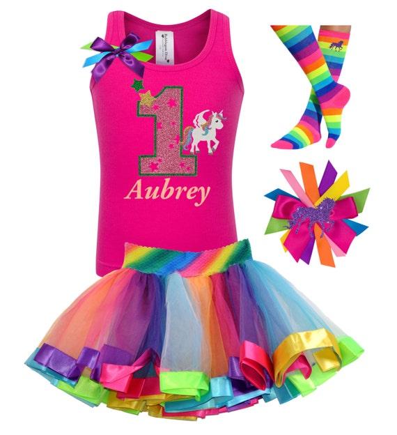Unicorn 1st Birthday Outfit Rainbow Tutu Fairytale Love